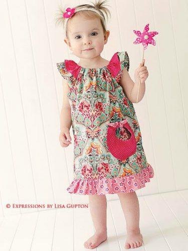 Angel Wing Sleeve Dress Pattern for girls.
