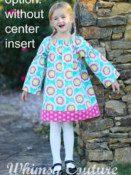 Girls peasant dress sewing pattern with center insert option. Downloadable girls dress pattern. Whimsy Couture.