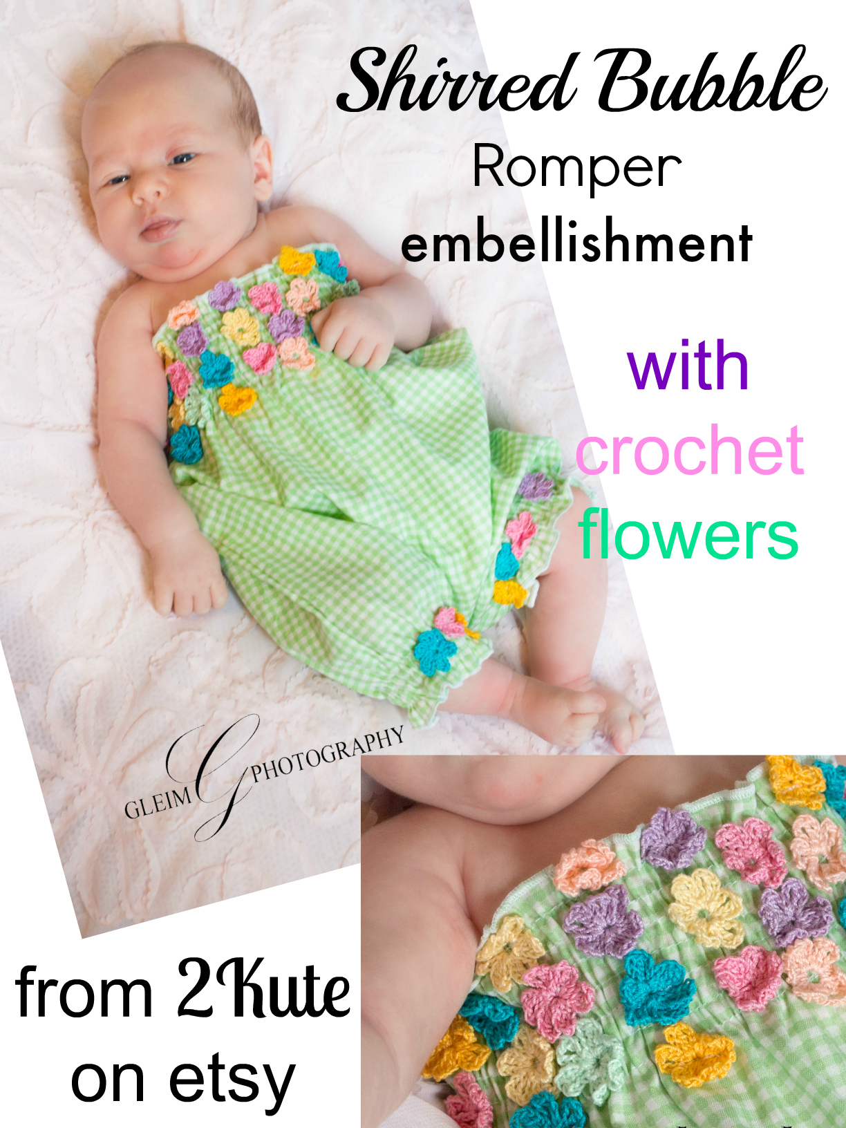 baby bubble romper sewing pattern whimsy couture with flower embellishments