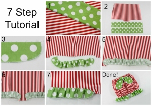 7 step tutorial on how to add ruffles to bloomers Collage