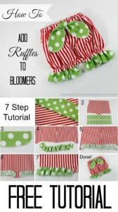 How to add ruffles to bloomers. A free tutorial from Whimsy Couture
