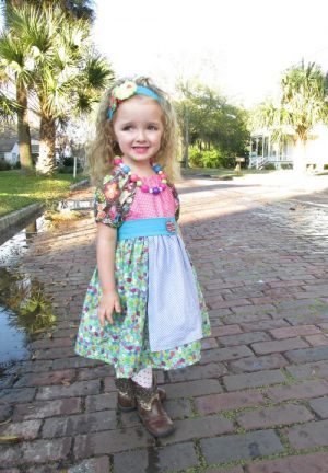 Girls Peasant Dress Pattern with Apron and sash. Easy to sew, a great beginners pattern by Whimsy Couture