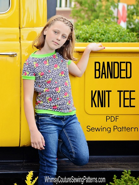Easy to sew t-shirt sewing pattern for girls. This tee features bands on neckline, sleeves and bodice. The pattern is great for beginners.