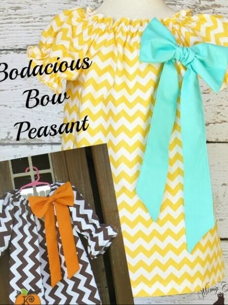 Girls peasant dress sewing pattern. Downloadable Bodacious bow peasant dress pattern