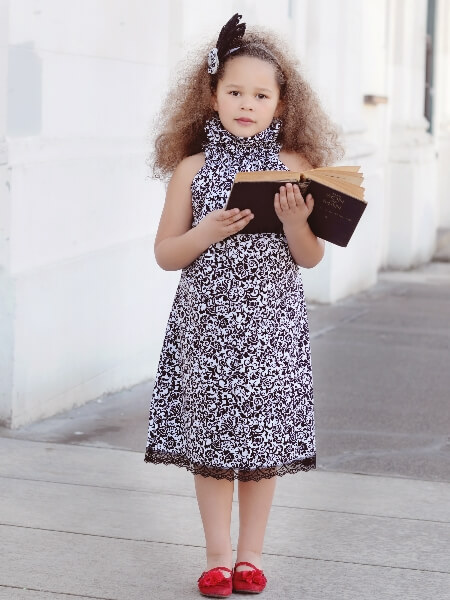 High collar girls dress pattern. The poet collar dress sewing pattern by Whimsy Couture.