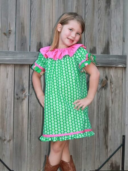 Ruffled neckline peasant dress sewing pattern. Easy to sew girls ruffle peasant dress pattern by Whimsy Couture