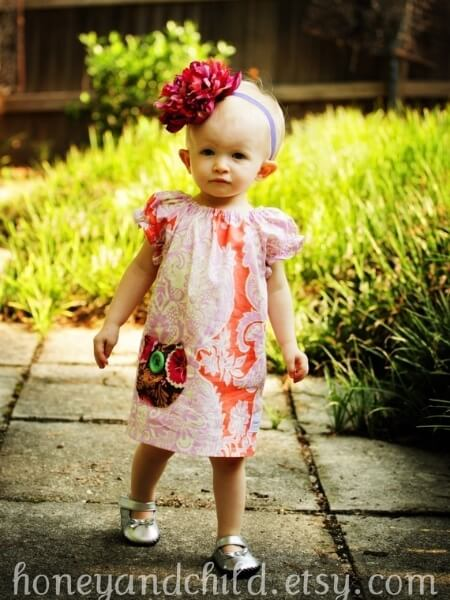 Girls peasant dress pattern. It is a simple dress with top length option and pockets | Whimsy Couture