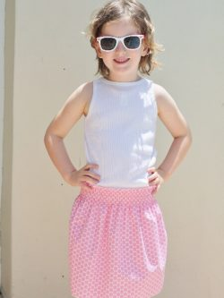 Girls shirred skirt sewing pattern by Whimsy Cotuure