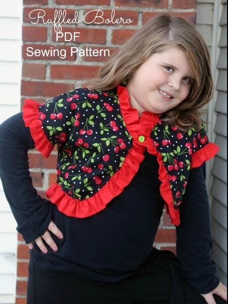 Ruffle bolero sewing pattern by Whimsy Couture