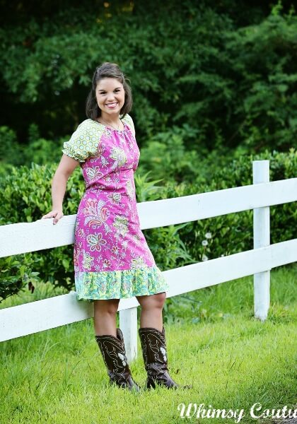Ladies peasant top dress sewing pattern by Whimsy Couture