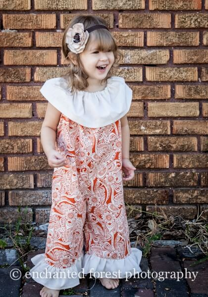 Ruffled neckline romper sewing pattern by Whimsy Couture