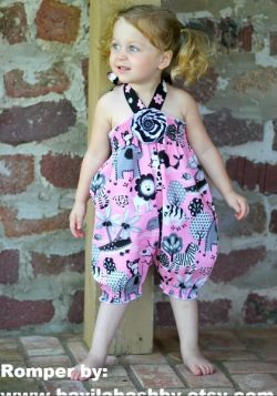 Shirred bubble romper sewing pattern by Whimsy Couture