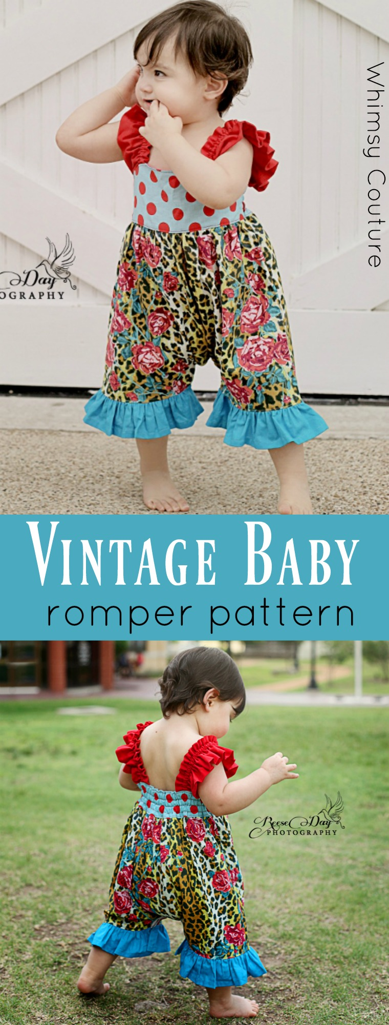 Vintage Baby Romper Sewing Pattern Whimsy Couture Sewing