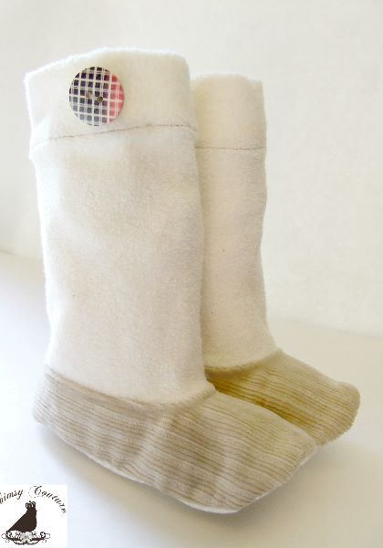 Fleece booties sewing pattern by Whimsy Couture
